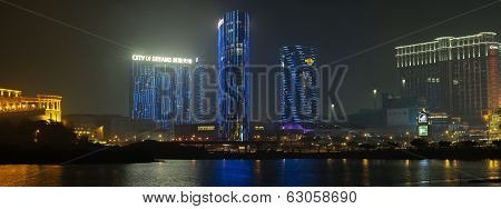 Panorama Of Night Macau With City Of Dreams Casino