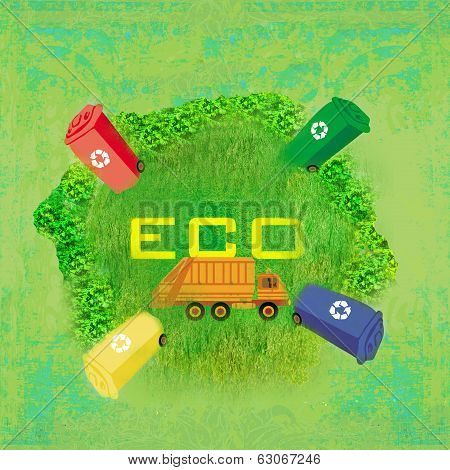 Ecology Card Design, Segregation Of Garbage