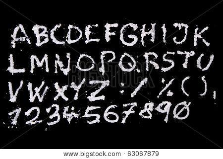 Snow Christmas Alphabet On Black Background
