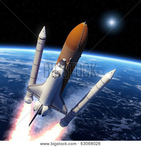 Space Shuttle Solid Rocket Boosters Separation.