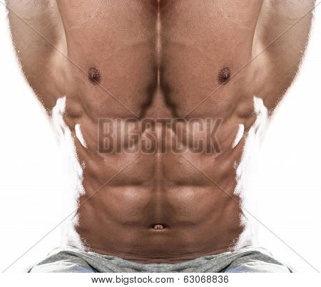Abdominal Muscle Close-up On White Background