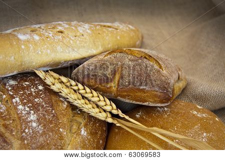 artisan baked bread isolated on white background