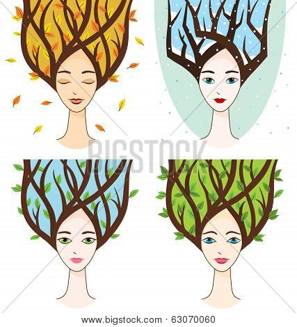 Vector Collection Of Woman Face With Symbols Of Seasons