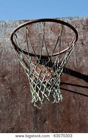 Closeup Of Old Basketball Backboard And Hoop Outdoor