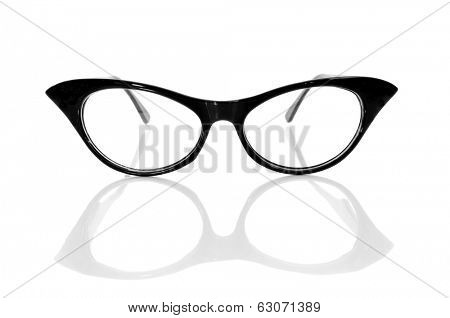 closeup of a black retro-styled eyeglasses for women on a white background