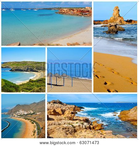 a collage of some pictures of different beaches of Spain, such as beaches of Canary Islands and Balearic Islands