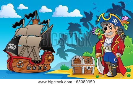 Pirate on coast theme 3 - eps10 vector illustration.