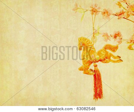 chinese horse knot on old paper background, word for