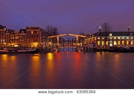 City scenic in Amsterdam the Netherlands by night