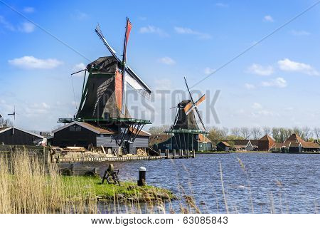 Two Windmills Near Amsterdam
