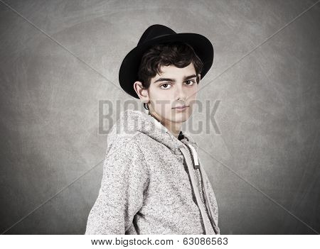 young boy in hat