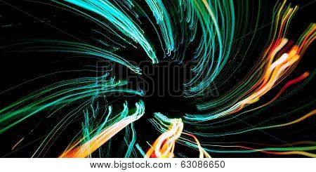 Colorful twirling lines in dark