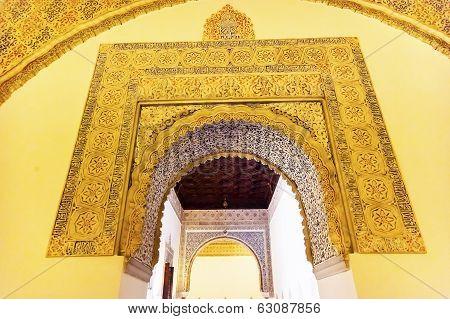 Arch Mosaic Wall Ceiling Ambassador Room Alcazar Royal Palace Seville Spain