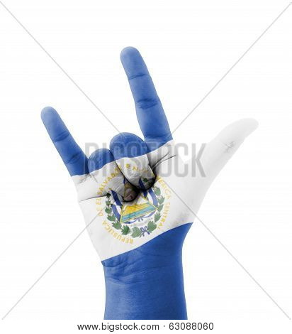 Hand Making I Love You Sign, El Salvador Flag Painted, Multi Purpose Concept - Isolated On White Bac