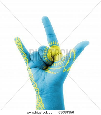 Hand Making I Love You Sign, Kazakhstan Flag Painted, Multi Purpose Concept - Isolated On White Back