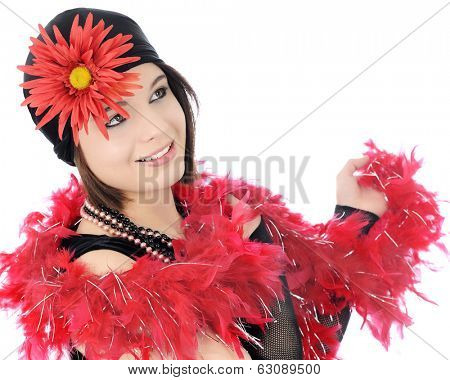 Close-up image of a beautiful teen flapper in black and red.  On a white background.