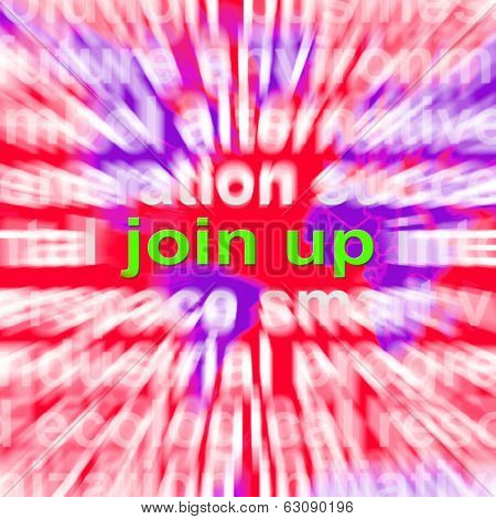 Join Up Word Cloud Shows Joining Membership Register