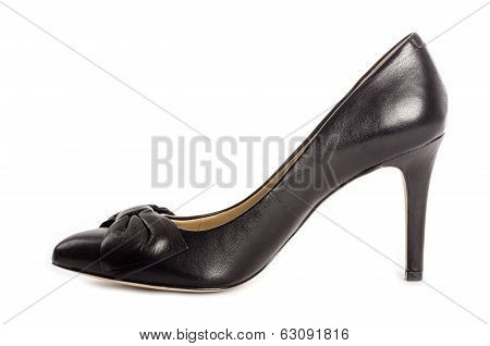 Black Leather High Heel Dress Shoes