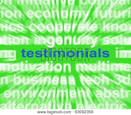 Testimonials Word Shows Supporting And Recommending Product Or Service