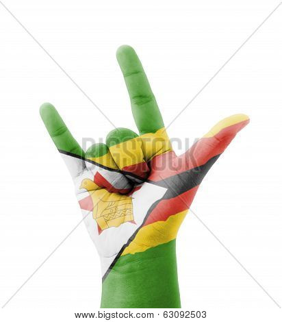 Hand Making I Love You Sign, Zimbabwe Flag Painted, Multi Purpose Concept - Isolated On White Backgr