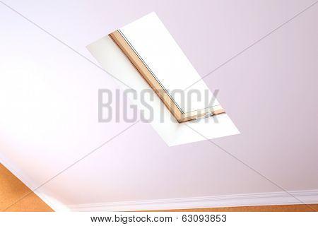 Roof skylight in new modern attic room