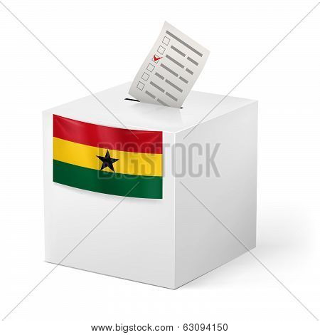 Ballot box with voting paper. Ghana