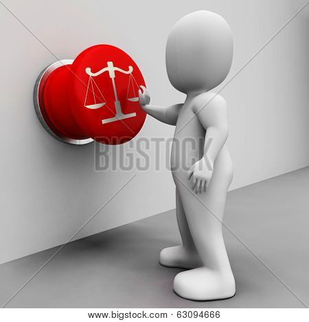 Scales Of Justice Button Means Court And Conviction