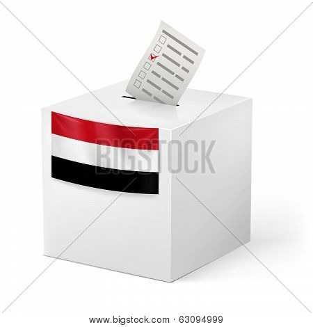 Ballot box with voting paper. Yemen
