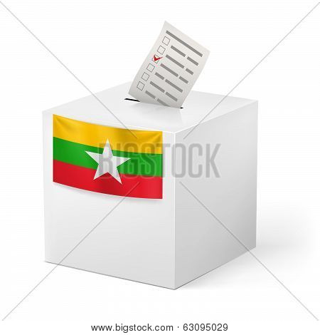 Ballot box with voting paper. Union of Myanmar