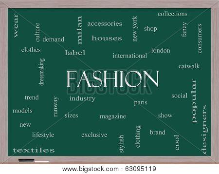 Fashion Word Cloud Concept On A Blackboard