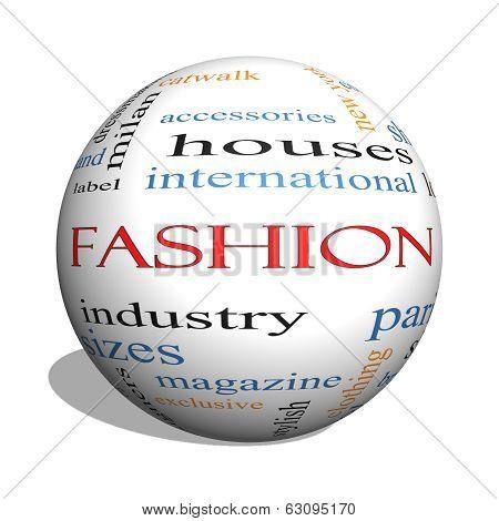 Fashion 3D Sphere Word Cloud Concept
