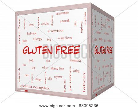 Gluten Free Word Cloud Concept On A 3D Cube Whiteboard