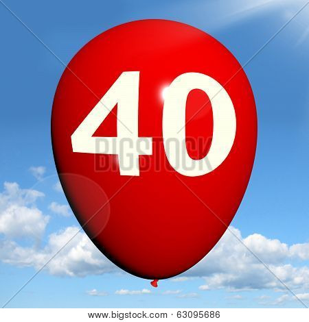 40 Balloon Shows Fortieth Happy Birthday Celebration