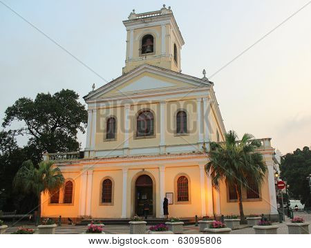 Our Lady Of Carmel Church At Sunset, Macau