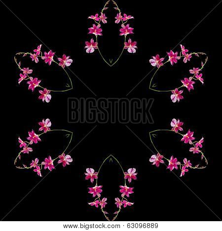 Border Frame Floral Abstract Pattern isolated on black background