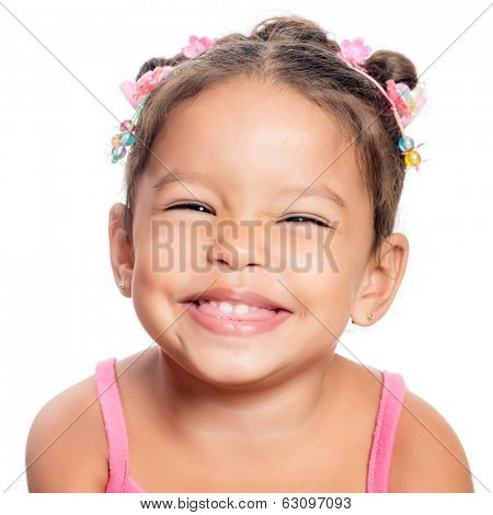 Close-up of a  multiracial small girl smiling isolated on a white background