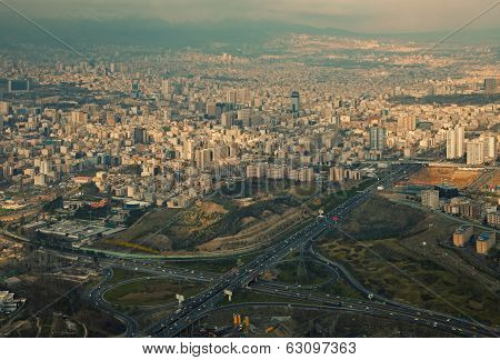 Aerial View Of Tehran Capital Of Iran Before Sunset