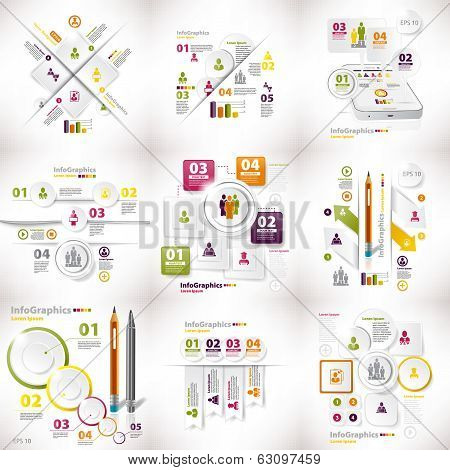 Infographics Set Of Nine Pieces On Business White