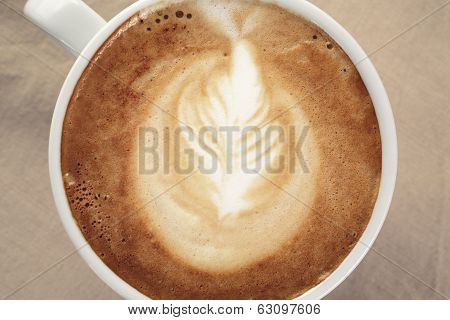 Fresh Cappuccino Cup With Simple Latte Art