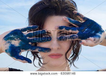 Hands Blu Paint
