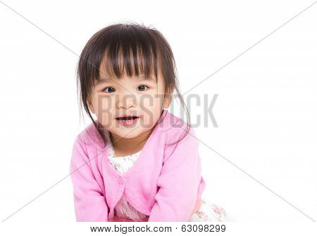 East Asian cute girl on white background