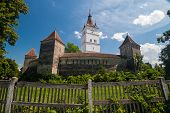 stock photo of fortified wall  - View of the Prejmer Fortified Church - JPG