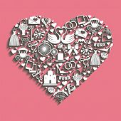 Wedding Design.icons For Web And Mobile In Hearts Composition