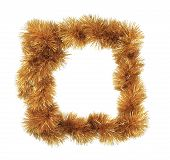Christmas golden tinsel as frame.