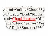 Cloud networking concept: Cloud Hosting on Paper background