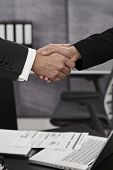 Closeup photo of businessman and businesswoman shaking hands.
