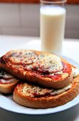 stock photo of home-made bread  - home made sandwich and milk for breackfast - JPG