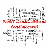 stock photo of dizziness  - Post Concussion Syndrome Word Cloud Concept in red caps with great terms such as brain injury trauma and more - JPG