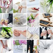 stock photo of bridal veil  - wedding theme collage composed of different images flowers ceremony rings and white dove - JPG