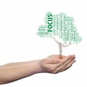 Concept or conceptual green tree media word cloud tagcloud in man or woman hand isolated on white ba
